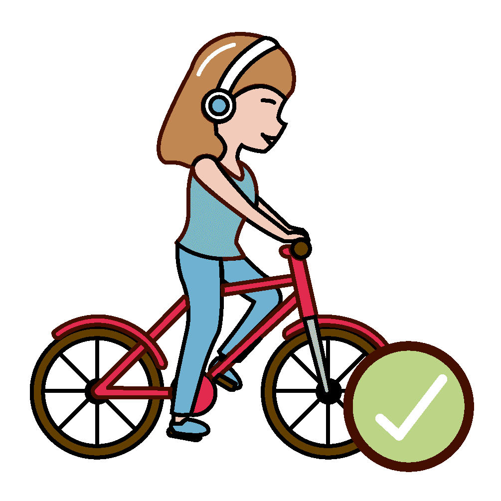 girl in bicycle with a sign of it's ok